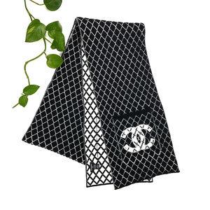 Chanel Black White Knit Cashmere Blend Stole Scarf